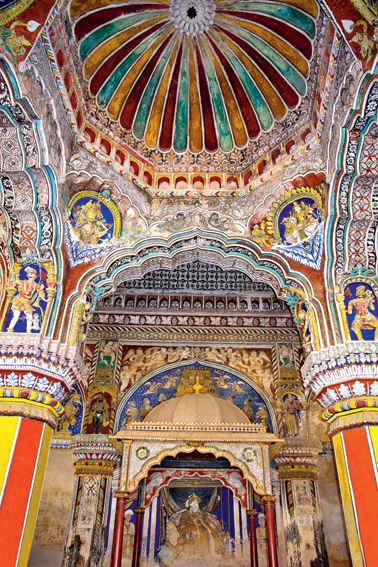 Colourful paintings on ceiling wall of the Darbar Hall of the Thanjavur Maratha palace, Thanjavur