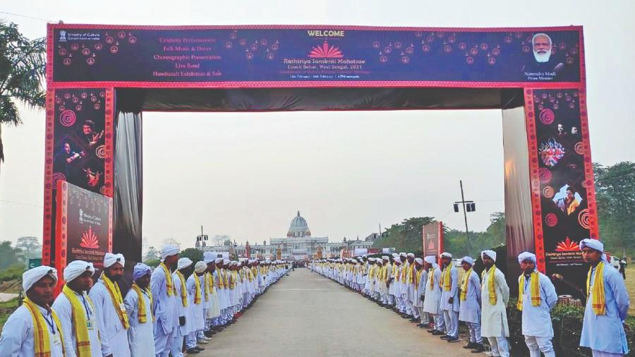 BATTLE ROYALE: Rajbanshis line up outside Cooch Behar Palace