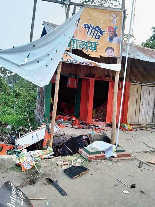 BJP office vandalised in Dhalai district on Saturday night after Tripura ADC poll results were declared.