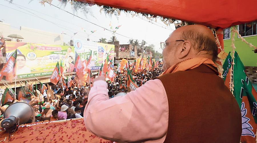 Amit Shah at a rally in Ranaghat on Saturday.