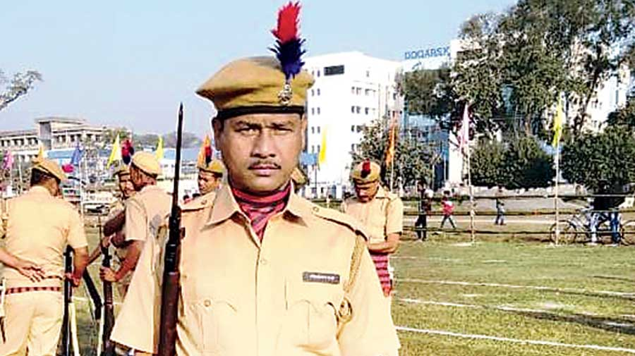 A former KLO militant, who has joined the state police, during this year's Republic Day Parade in Alipurduar
