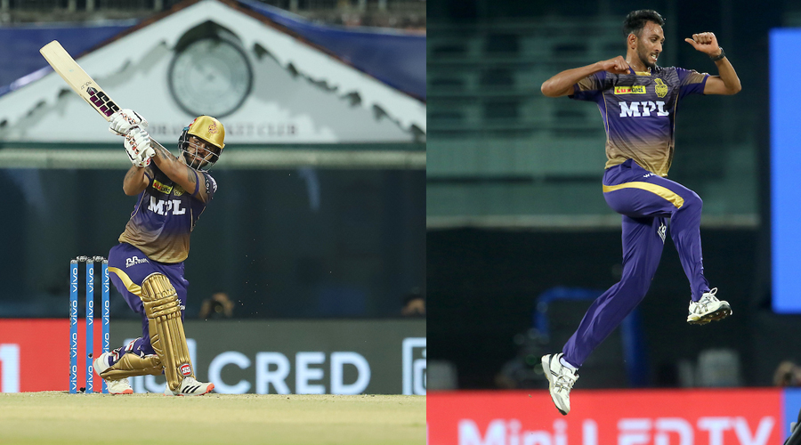 Man of the Match Nitish Rana (left) on way to his 80 during KKR's match against Sunrisers Hyderabad in Chennai on Sunday. (Picture right) Prasidh Krishna, who picked up two wickets.