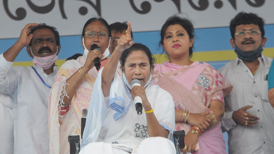 TMC supremo Mamata Banerjee during campaign for the State Assembly polls in Ranaghat on Monday.