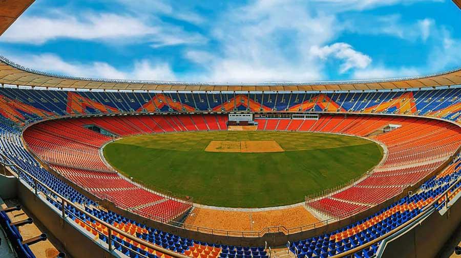 The newly built Motera stadium in Ahmedabad.