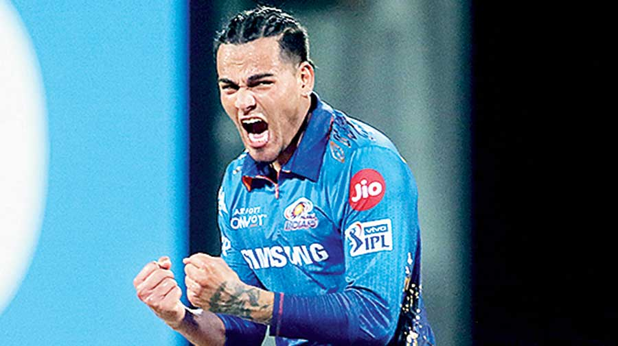 Rahul Chahar of Mumbai Indians celebrates one of his four wickets in Chennai  on Tuesday.