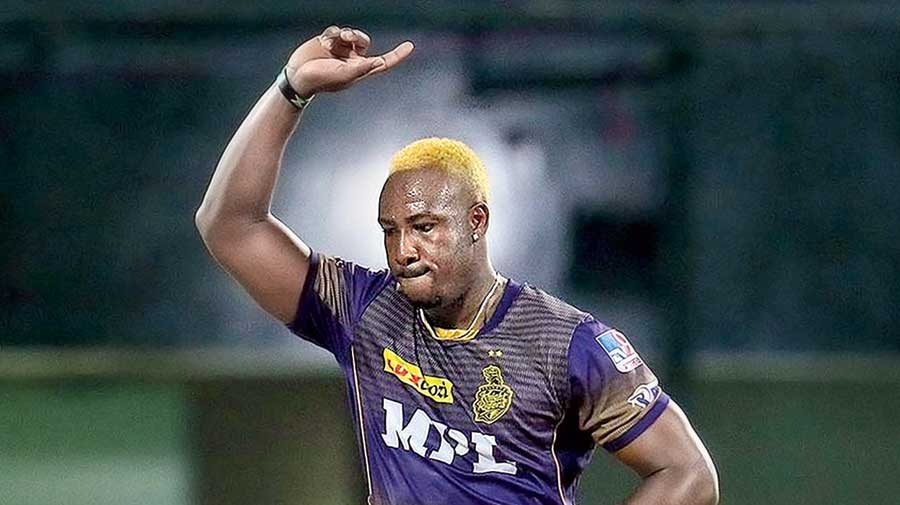 Andre Russell of Kolkata Knight Riders after dismissing Mumbai Indians' Kieron Pollard, one of his five victims, in Chennai on Tuesday.