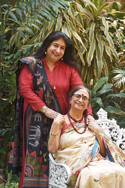 "Malika Varma with Malika's Kantha Collection matriarch and mother Shamlu Dudeja. What's Shamlu's top tip for Malika? ""As Malika comes back and takes over the reigns of MKC, my blessings are with her to continue empowering our artisans and taking kantha to greater heights and larger markets. The launch of MKC Men is a fabulous step to achieve this!"" she said. Check out MKC Men at 4/1 Alipore Park Road or on www.malikakantha.com"