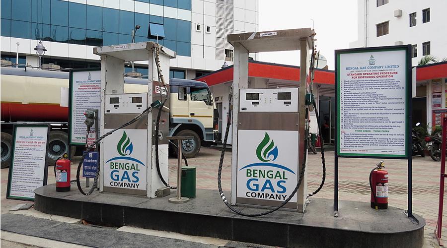CNG dispensing units at a New Town petrol pump.