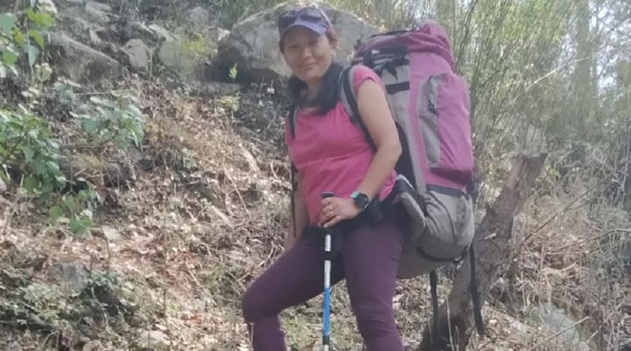 Asmita Dorjee climbs a mountain in Uttarakhand earlier this week.