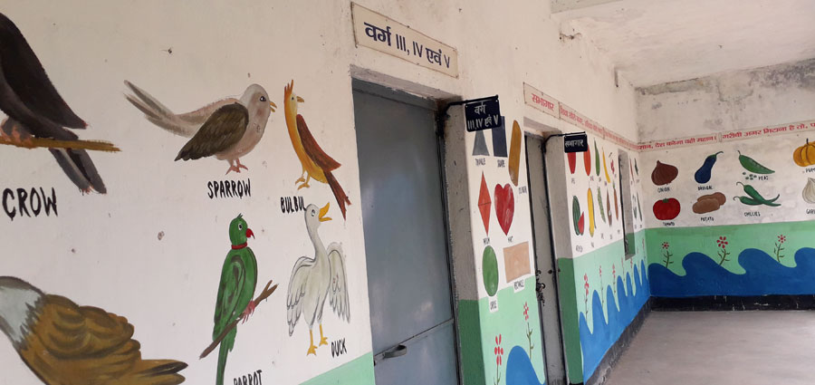 A wall painting at the school. corridor of Prathmik Vidyalaya, Pargho 3.