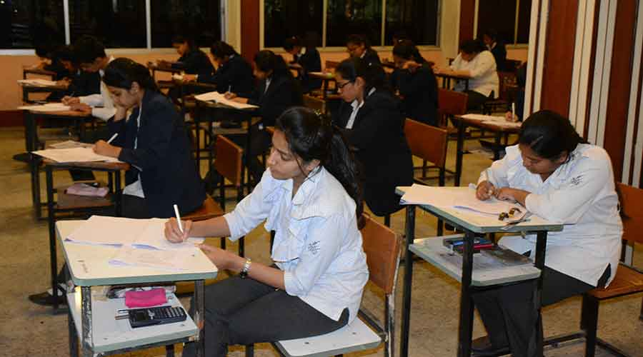 Class 10 students appear for their ICSE examinations last year in Jamshedpur.