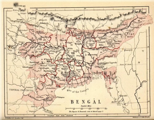 Map of Bengal from G.U. Pope's A Textbook of Geographical Notes, Genealogical Tables, Examination Questions, published in 1880. Sylhet was made part of the newly created Assam Province in 1874