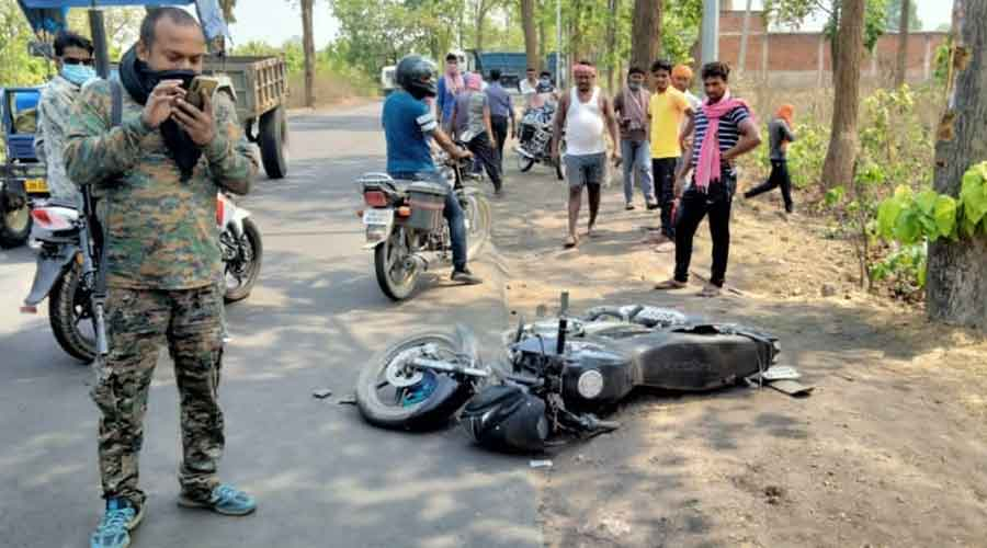 The bike after the accident in Hazaribagh on Saturday.