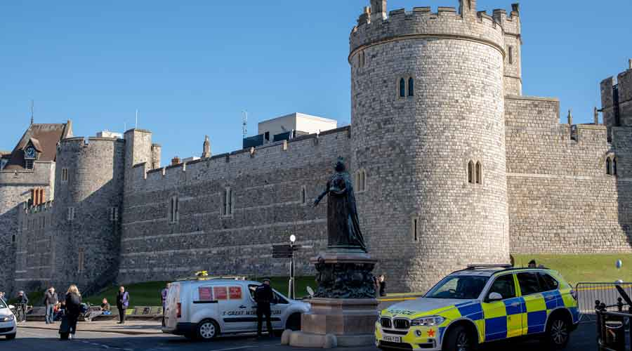 Security outside Windsor Castle near London, where the funeral service for Prince Philip was held