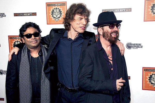A.R. Rahman, with his SuperHeavy gang of Mick Jagger (centre) and Dave Stewart
