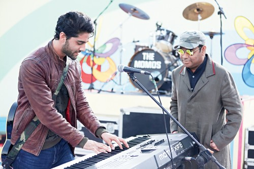 Rahman, with debutant actor Ehan Bhat, on the sets of 99 Songs