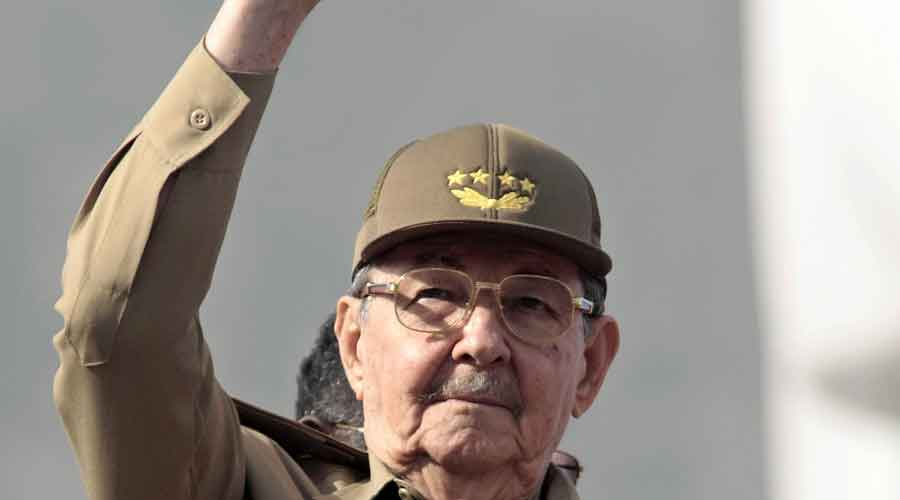 Raul Castro, then president of Cuba, waves during a May Day parade in Havana on May 1, 2008