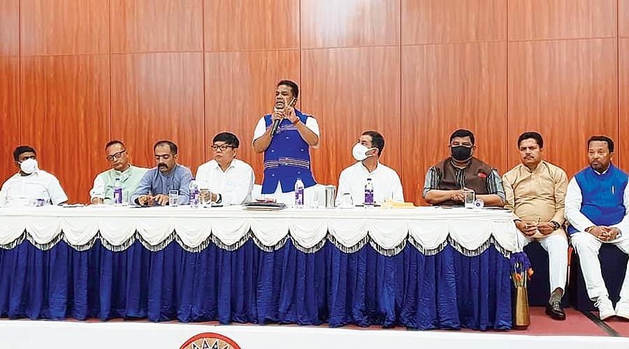 Assam PCC president Ripun Bora addressing Assembly poll candidates at the resort on Saturday.