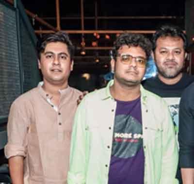 (L-R) Arnab Bhaumik (writer), Saptaswa Basu (director) and Dabbu (composer)