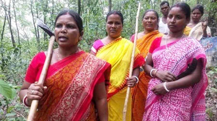 Jamuna Tudu with her team of Van Suraksha Samity.