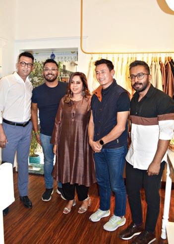 Sanhita with (l-r) Nil, Bhaichung Bhutia and Dev