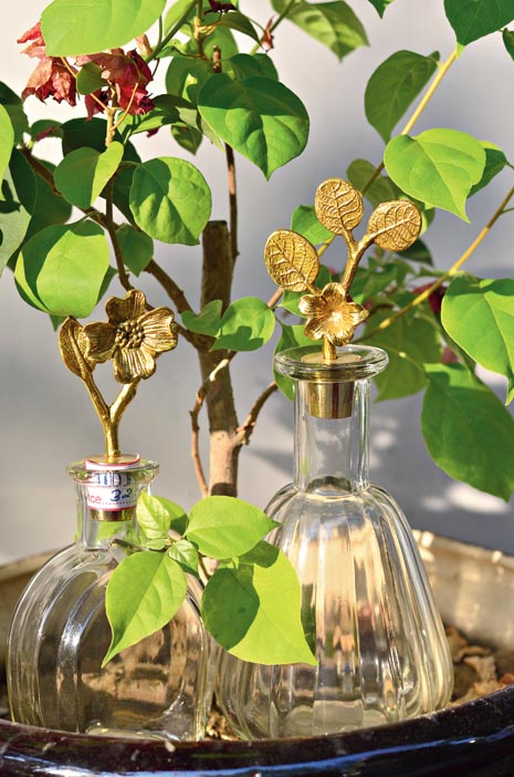 Simple and beautiful, these oil containers with decorated brass leaves will add an elegant touch to your kitchen shelf.