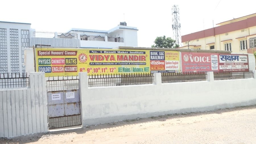 A closed coaching centre at Luby Circular Road in Dhanbad on Tuesday.
