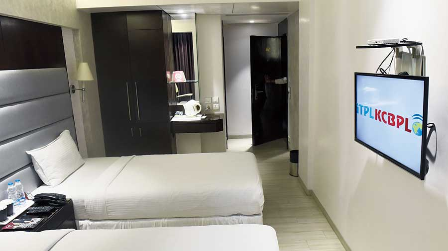 A room at the Southern Plaza Hotel in Southern Avenue that is being turned into a satellite home under the supervision of AMRI Hospitals on Tuesday.