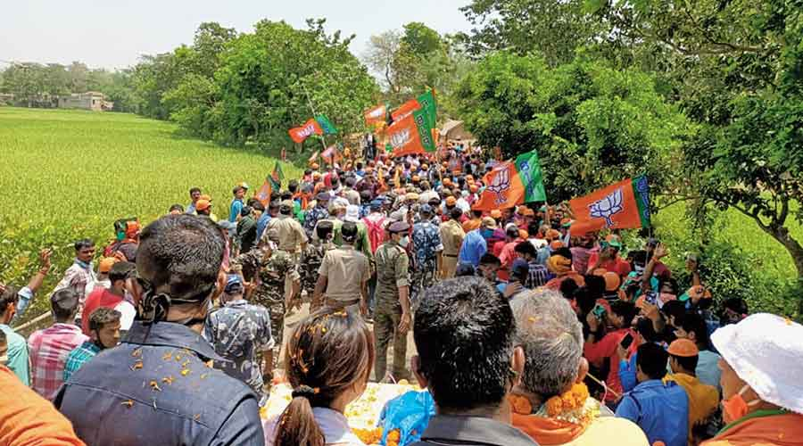 A Dilip Ghosh road show in the district's Burwan on Tuesday