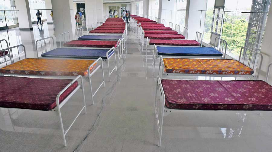 Beds inside Uttirna on Tuesday.