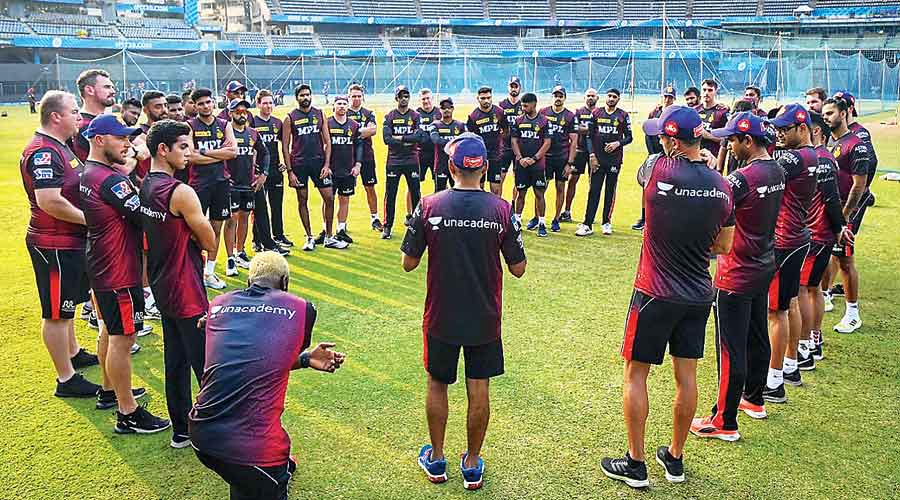 Kolkata Knight Riders players and support staff during a practice session.