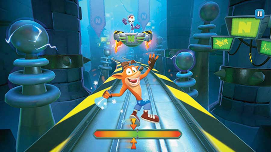 A moment from Crash Bandicoot: On the Run!, which will keep you busy for hours.