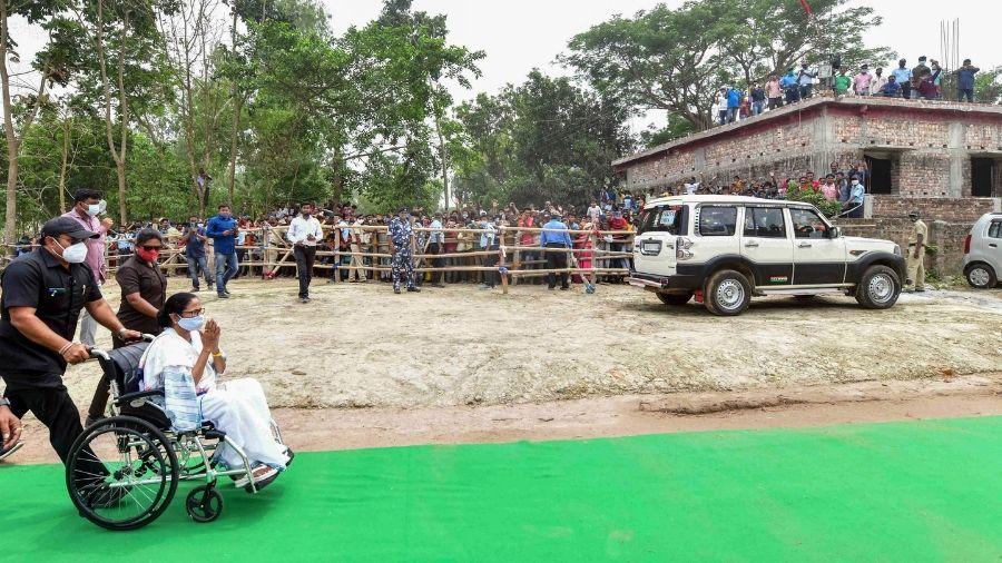 Mamata Banerjee during a poll rally at Dakshin Dinajpur on Wednesday.