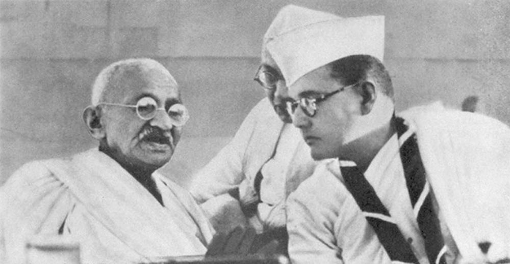 Netaji Subhash Chandra Bose with Mahatma Gandhi in 1938