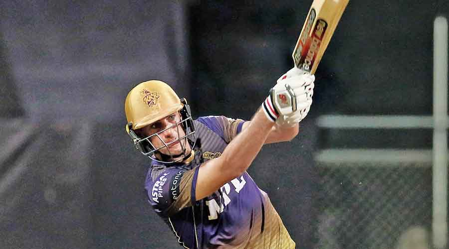 Kolkata Knight Riders' Pat Cummins en route to his 34-ball unbeaten 66 during the match against Chennai Super Kings in Mumbai on Wednesday