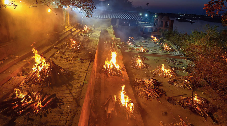 Covid-19 victims being cremated at Bhairav Ghat Hindu Crematory in Kanpur on Thursday.