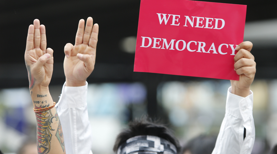 Pro-democracy protesters in Myanmar