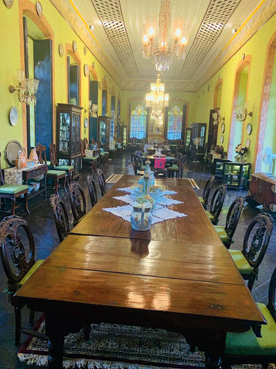 The main dining room of the Figueiredo mansion in Loutulim