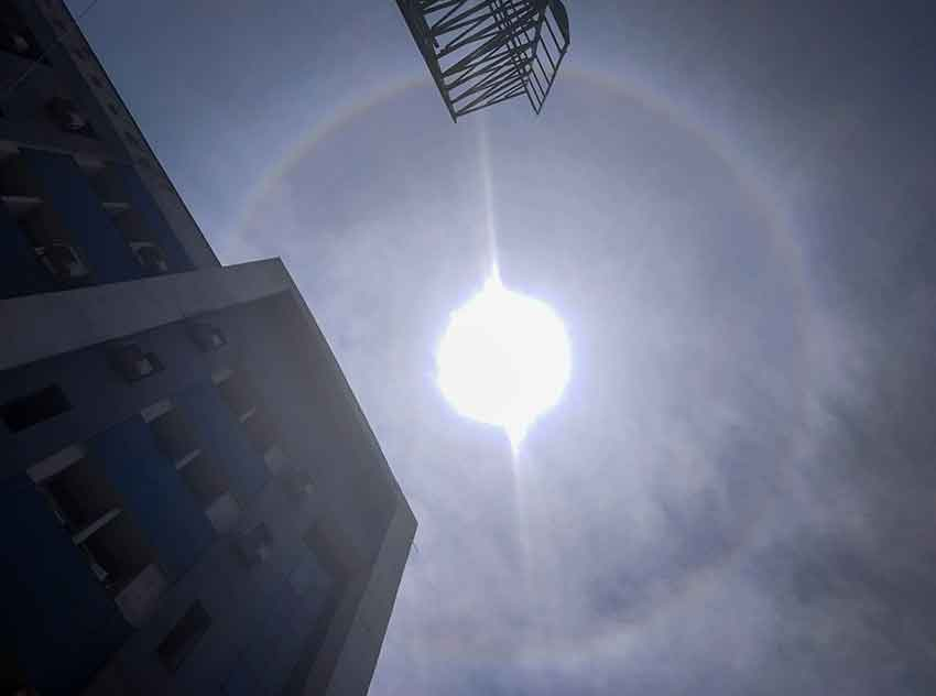 A view of the Sun halo at Sadar hospital in Ranchi on Monday.