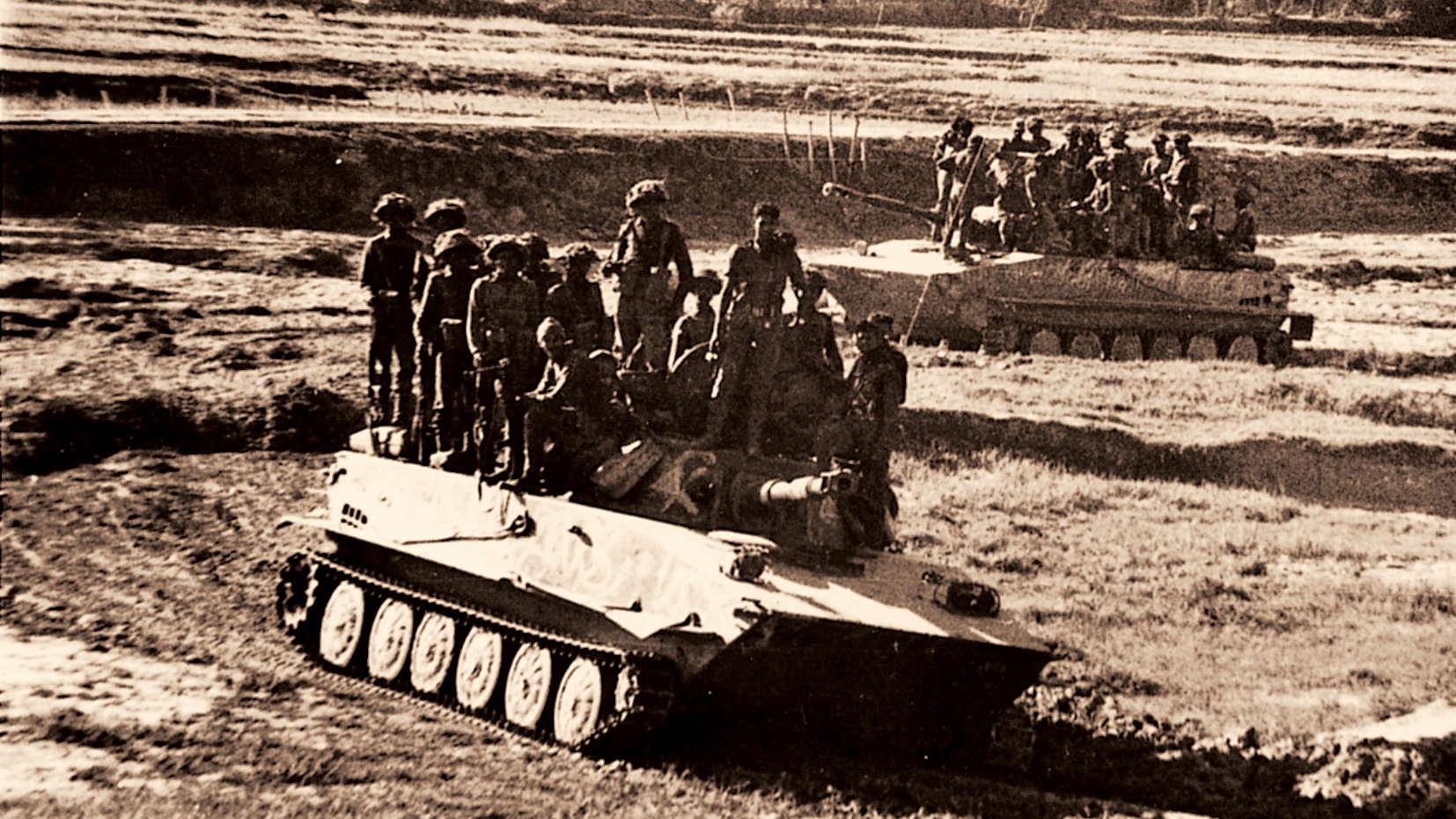 The Mukti Bahini advancing into Khulna.