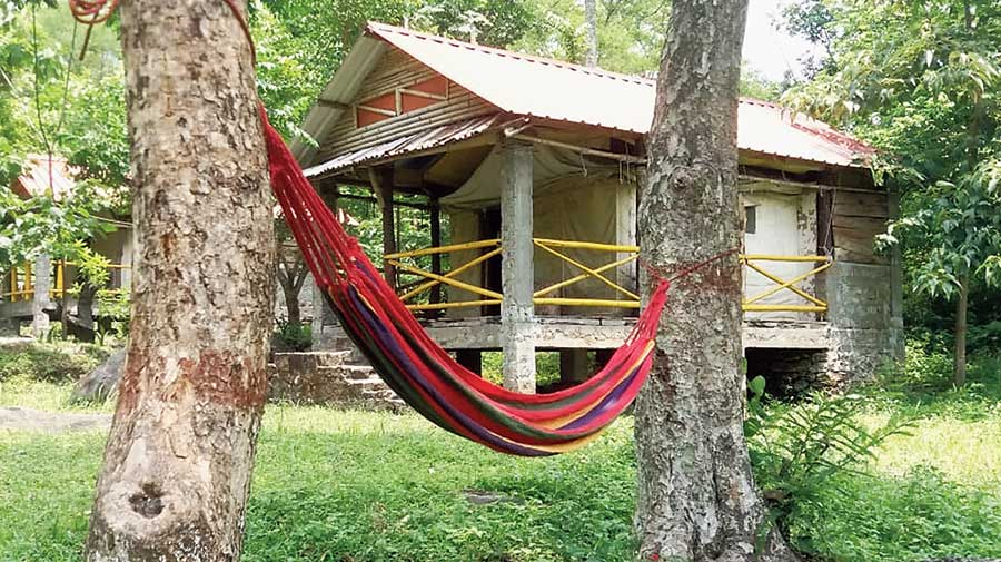 A hammock in front of a homestay, on the outskirts of Mirik.