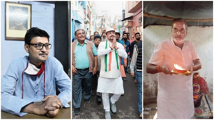 (L-R) CPM candidate Pratip Dasgupta; Trinamul candidate Atin Ghosh; BJP candidate Shibaji Singha Roy