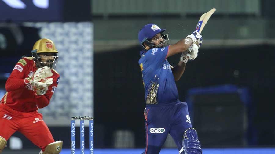 Rohit Sharma plays a shot during the match between Punjab Kings and Mumbai Indians at the M. A. Chidambaram Stadium in Chennai.