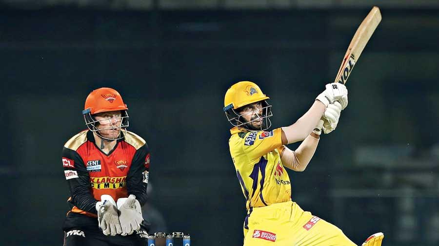Ruturaj Gaikwad of Chennai Super Kings on way to his 44-ball 75 against Sunrisers Hyderabad on Wednesday.