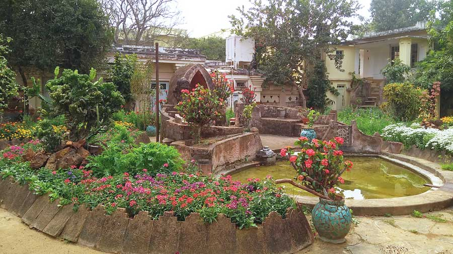 The Japanese garden beside Tagore's house Udayan. The garden was laid by Tagore's son Rathindranath.