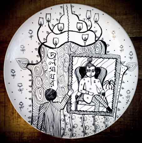Jalshaghar Wall Plate by Bag of Bong, made on a 'pre-sanitised ceramic plate with archival ink'