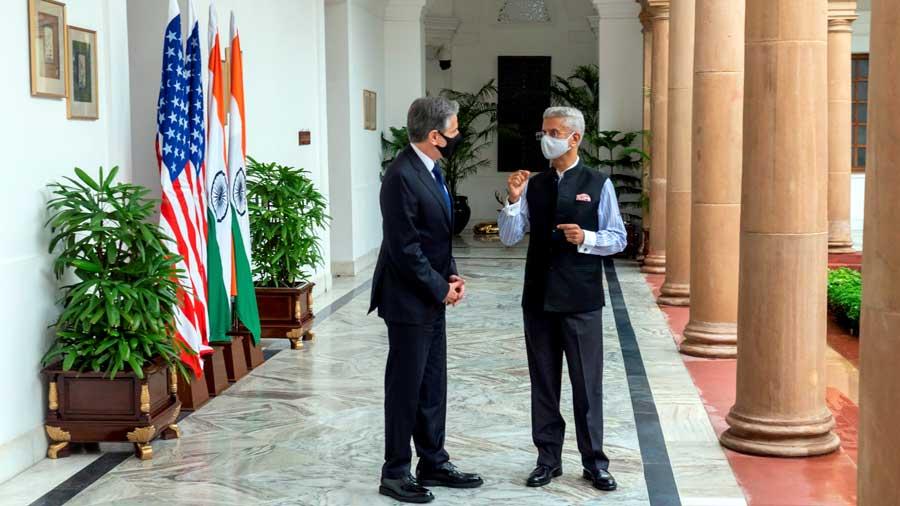Indian External Affairs Minister Dr. S Jaishankar with US Secretary of State Antony Blinken during their meeting in New Delhi.