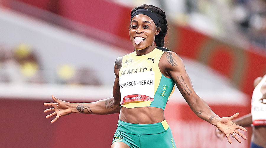 Elaine Thompson-Herah after winning the women's 200m on Tuesday.