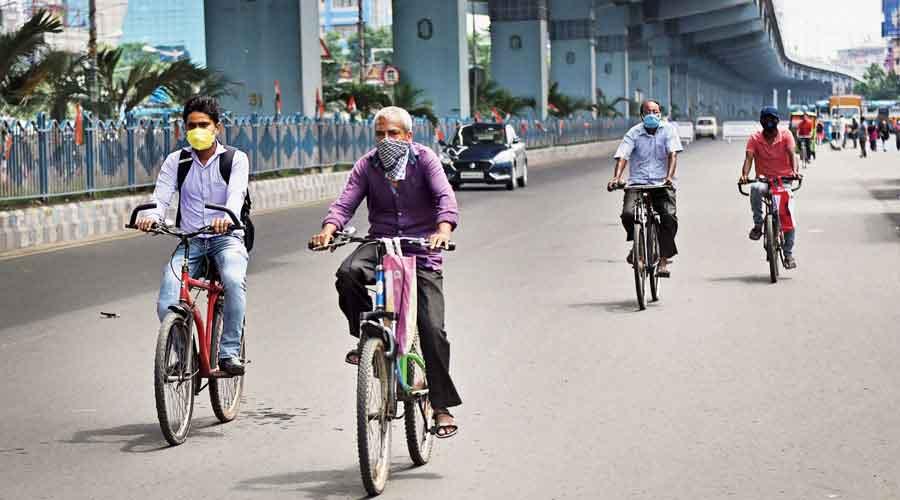 Cyclists in Calcutta.