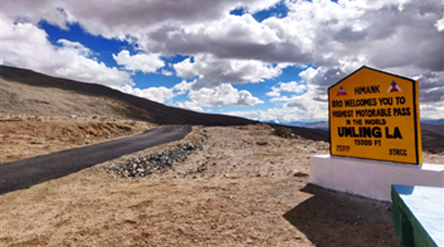 The road at Umlingla Pass now connects the important towns in the Chumar sector of Eastern Ladakh.